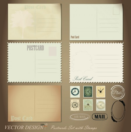 Vintage-Stationery-Stamp-and-Envelope-free-Vector-1-450x452