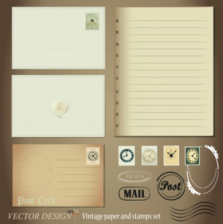 Vintage-Stationery-Stamp-and-Envelope-free-Vector-2-450x452