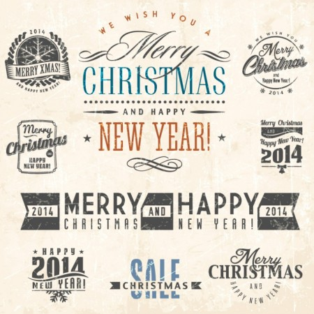 Vintage-Xmas-Stickers-Vector-450x450