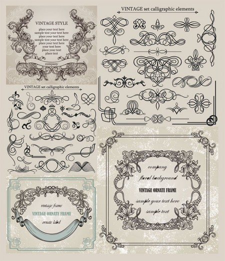 Vintage-calligraphic-elements-ornate-frames-eps-vector