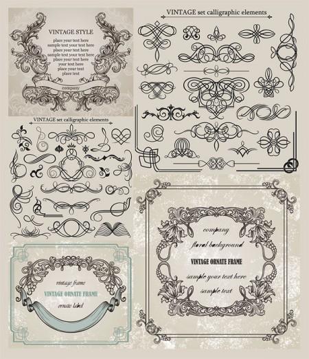 Vintage-calligraphic-elements-ornate-frames-eps-vector