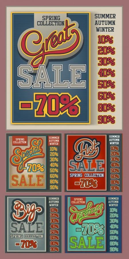 Vintage-sale-poster-set
