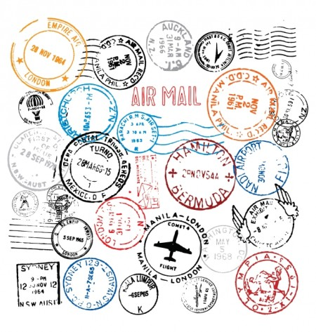 World Postmark Stamps Vector Set