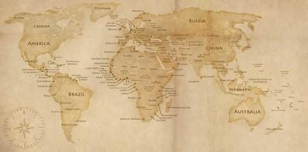 WorldMap by eliskan 450x223 ヴィンテージな地図の無料素材いろいろ(VECTOR・PSD・ABRなど)   Free Style
