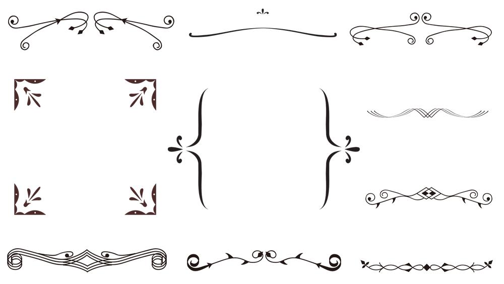 シンプルで使いやすい無料の飾り枠 飾り罫10点 透過png Free