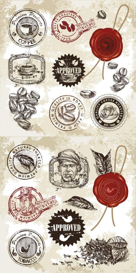 coffe-and-tabacco-seals-and-stamps