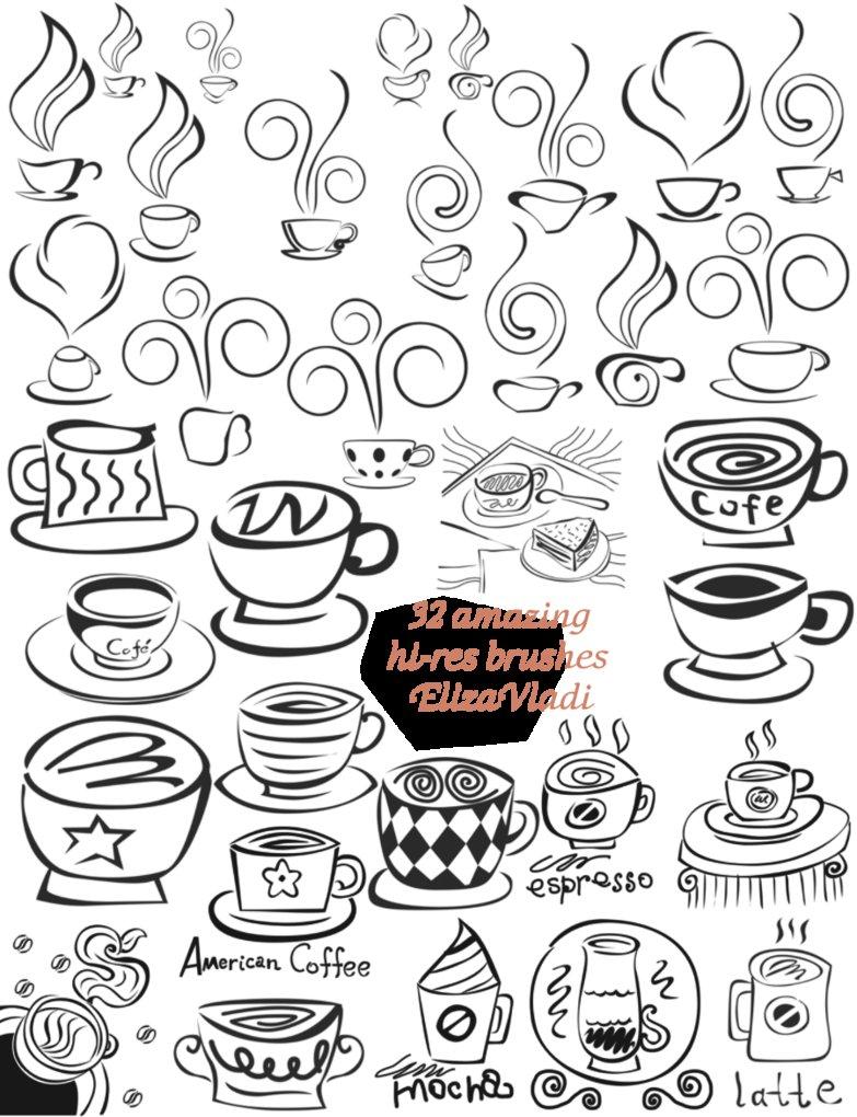 メニューにいかが! 手書き風でかわいいコーヒーカップのフォトショップ