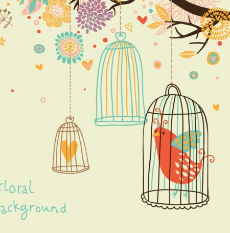 cute birds vector background