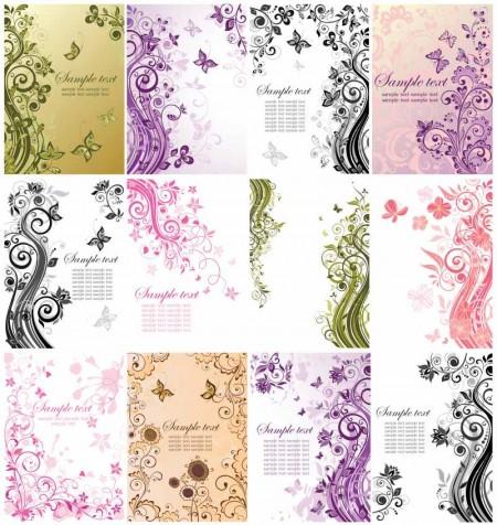 elegant line flowers Pattern background eps Vector 02_Ornaments