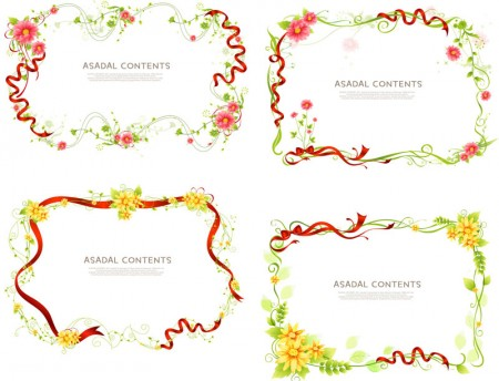 floral-frames-with-ribbon-vector
