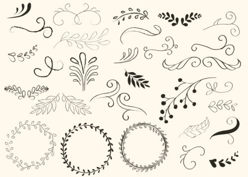 hand-drawn-swirls-and-wreath-vectors