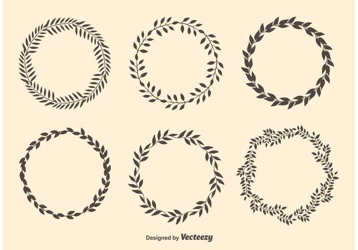 使い道いろいろ!ヴィンテージな月桂冠のイラスト素材(商用可あり・ai・eps・pdf・svg・abr・csh