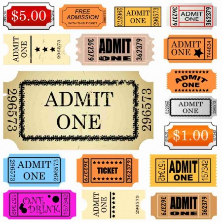 set of ticket admit one-