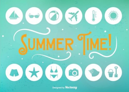 summer-time-flat-icons-vector