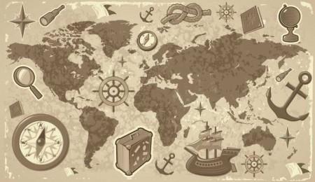travel map 450x260 ヴィンテージな地図の無料素材いろいろ(VECTOR・PSD・ABRなど)   Free Style
