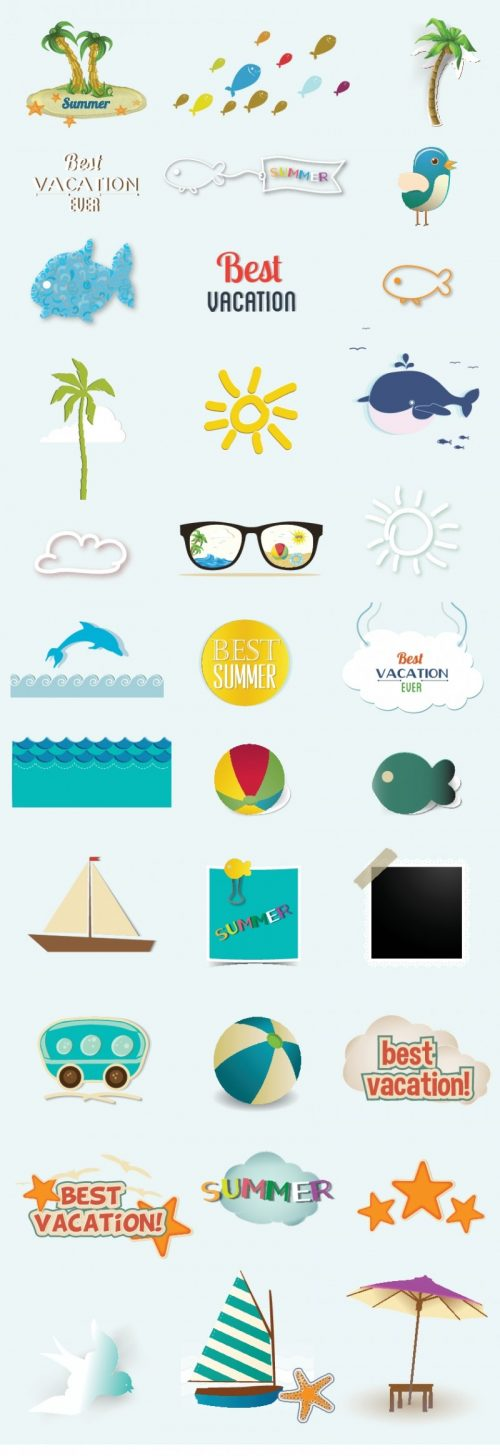 vector-summer elements-set 2
