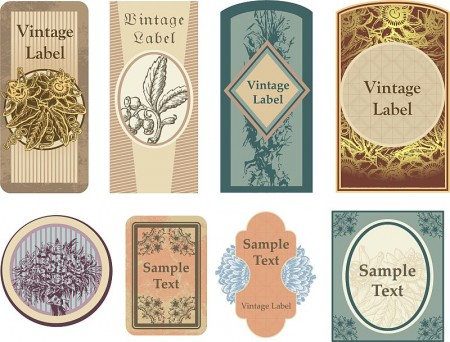 vintage vector floral labels1 450x342 無料コラージュ素材 ヴィンテージなラベル素材 豪華3セット   Free Style