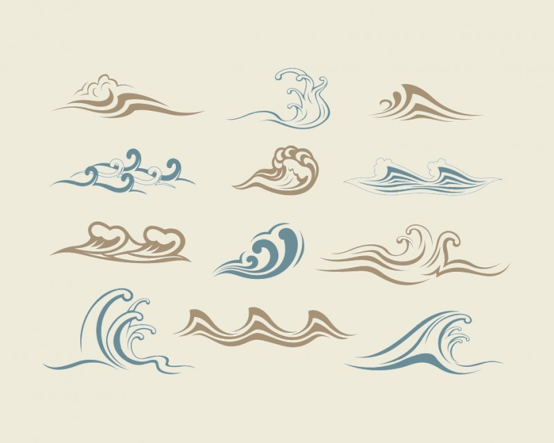 Waves Graphics Vector Material on Blue Border