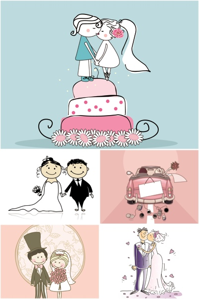 wedding,cartoon,illustrations,vector