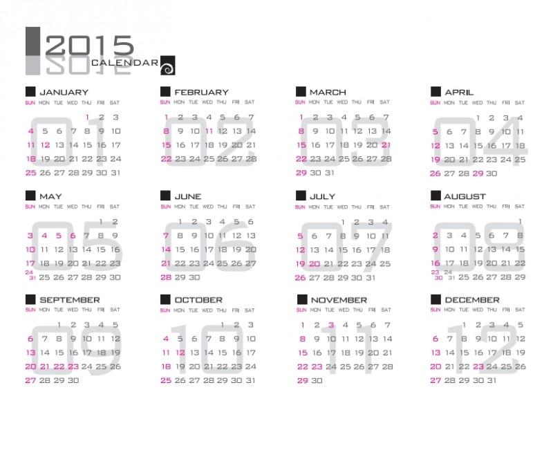 シンプル 2015 平成27年 ベクターカレンダーが無料でダウンロード